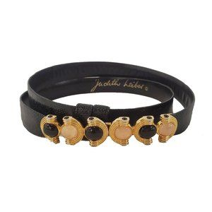 JUDITH LEIBER Vtg Black Belt with Gold Tone Buckle